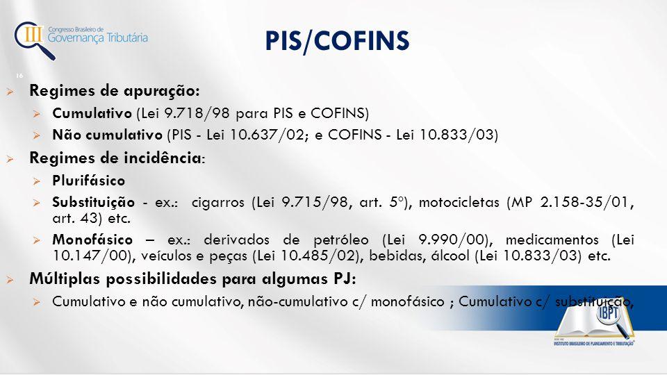 PIS/COFINS Regimes de apuração: Regimes de incidência: