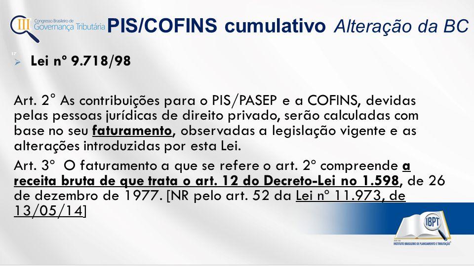 PIS/COFINS cumulativo Alteração da BC