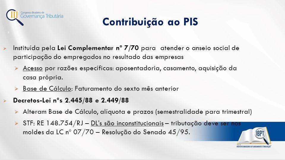 Contribuição ao PIS Instituída pela Lei Complementar nº 7/70 para atender o anseio social de participação do empregados no resultado das empresas.