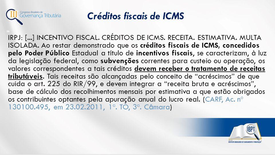 Créditos fiscais de ICMS