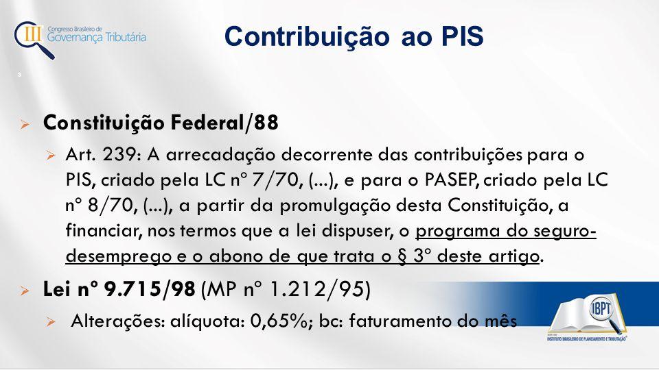 Contribuição ao PIS Constituição Federal/88