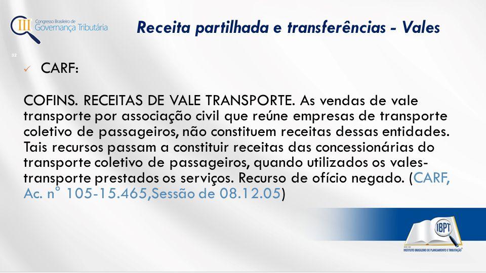 Receita partilhada e transferências - Vales