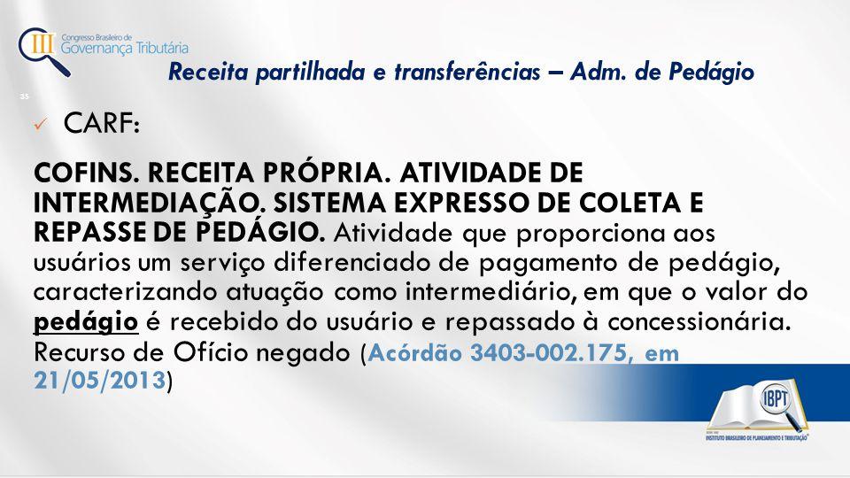 Receita partilhada e transferências – Adm. de Pedágio