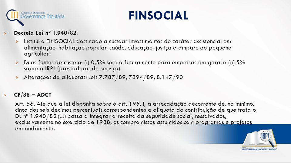 FINSOCIAL Decreto Lei nº 1.940/82: