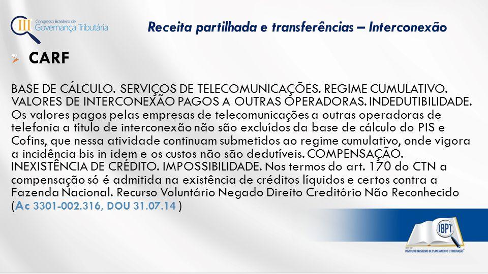 Receita partilhada e transferências – Interconexão