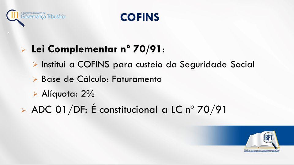 COFINS Lei Complementar nº 70/91: