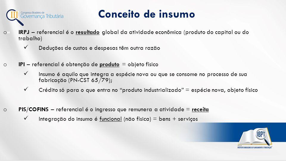 Conceito de insumo IRPJ – referencial é o resultado global da atividade econômica (produto do capital ou do trabalho)