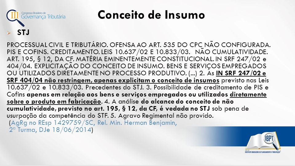 Conceito de Insumo STJ.