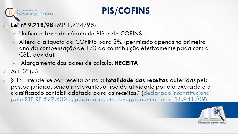 PIS/COFINS Lei nº 9.718/98 (MP 1.724/98):