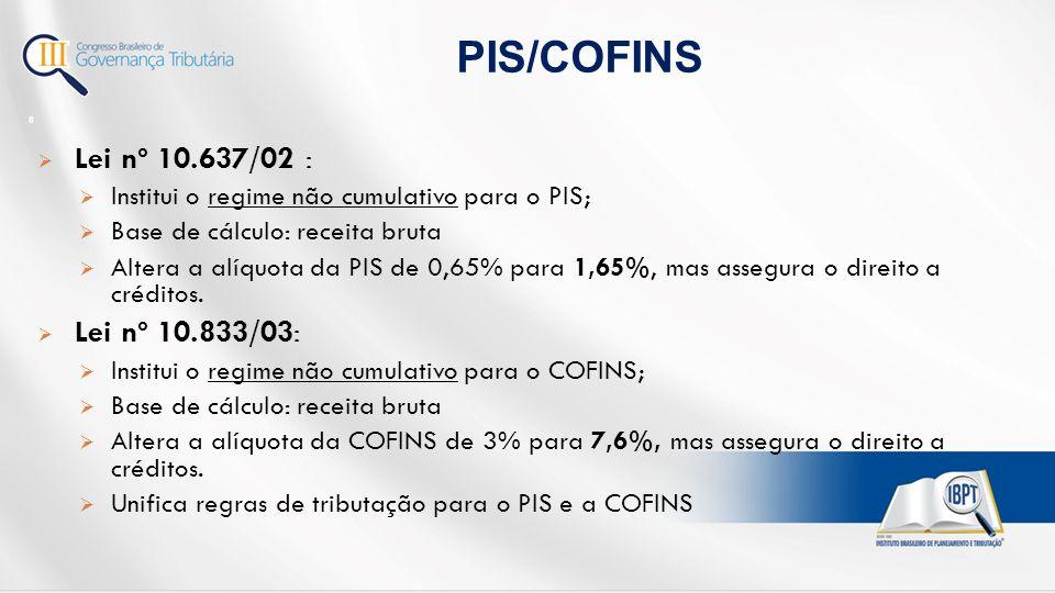 PIS/COFINS Lei nº 10.637/02 : Lei nº 10.833/03: