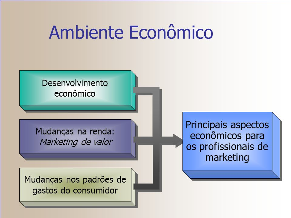 Ambiente Econômico Desenvolvimento econômico. Mudanças na renda: Marketing de valor. Mudanças nos padrões de gastos do consumidor.