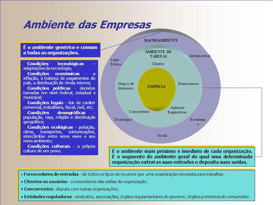 Ambiente das Empresas Clientes. AMBIENTE DE TAREFAS. Fornecedores. Grupos de Interesses. Agências Reguladoras.