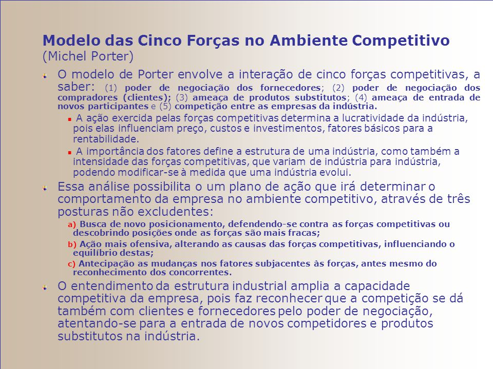 Modelo das Cinco Forças no Ambiente Competitivo (Michel Porter)
