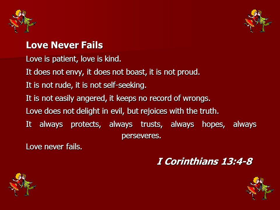 Love Never Fails I Corinthians 13:4-8 Love is patient, love is kind.
