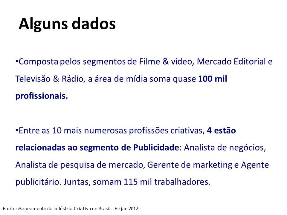 Alguns dados Composta pelos segmentos de Filme & vídeo, Mercado Editorial e Televisão & Rádio, a área de mídia soma quase 100 mil profissionais.