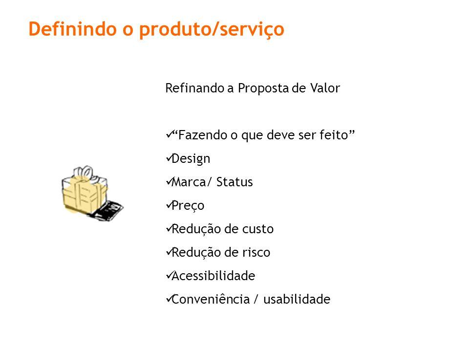 Definindo o produto/serviço
