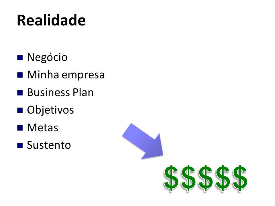 $$$$$ Realidade Negócio Minha empresa Business Plan Objetivos Metas