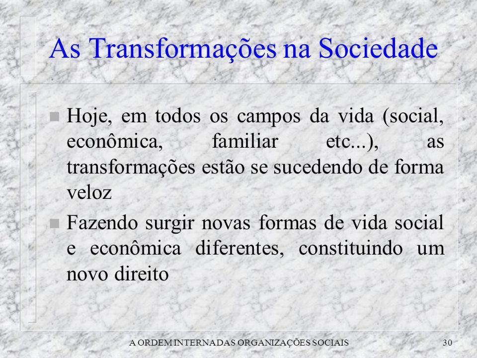 As Transformações na Sociedade