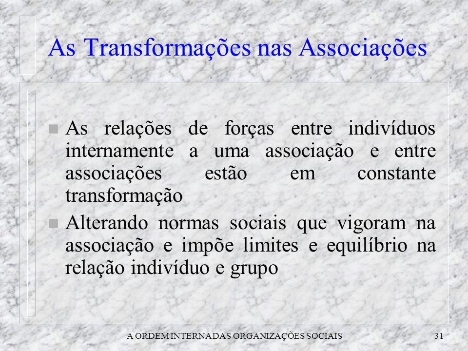 As Transformações nas Associações