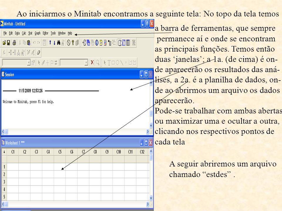Ao iniciarmos o Minitab encontramos a seguinte tela: No topo da tela temos