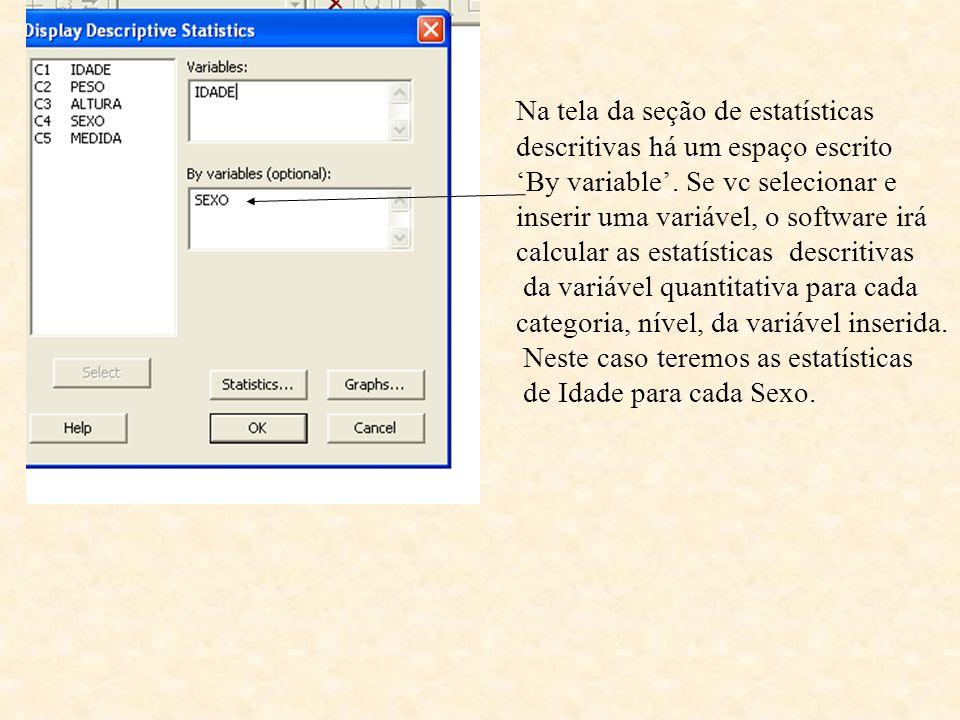Na tela da seção de estatísticas
