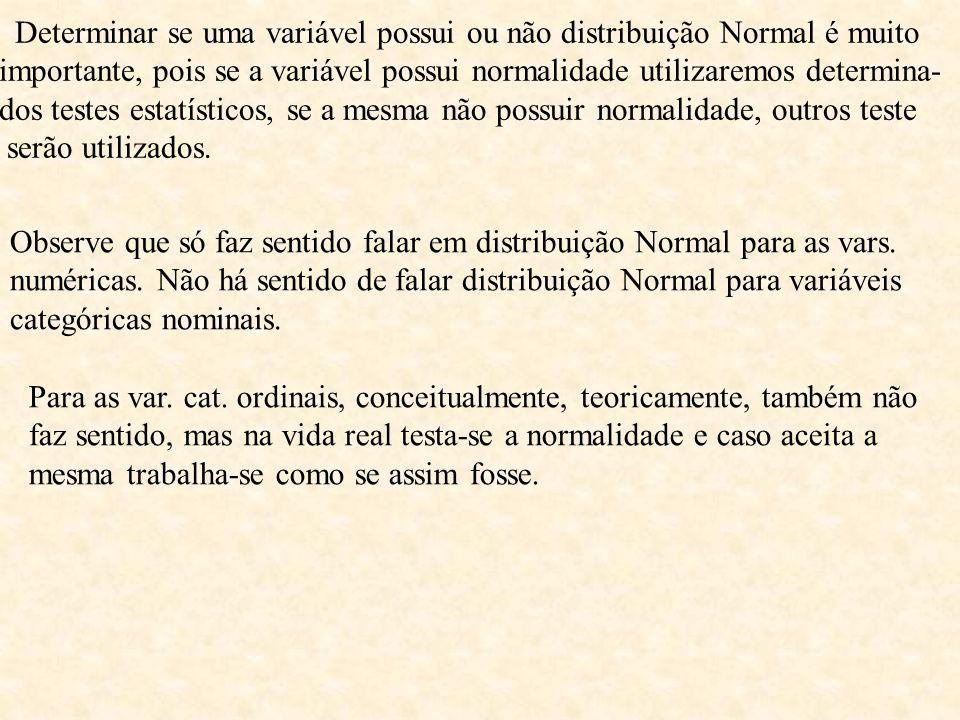 Determinar se uma variável possui ou não distribuição Normal é muito