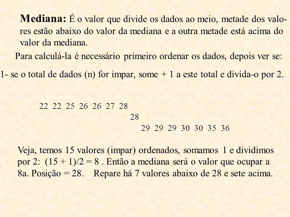 Mediana: É o valor que divide os dados ao meio, metade dos valo-