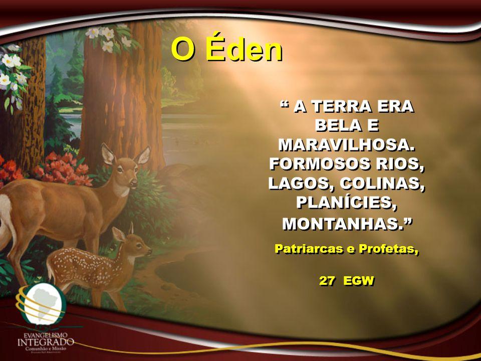 O Éden A TERRA ERA BELA E MARAVILHOSA. FORMOSOS RIOS, LAGOS, COLINAS, PLANÍCIES, MONTANHAS.