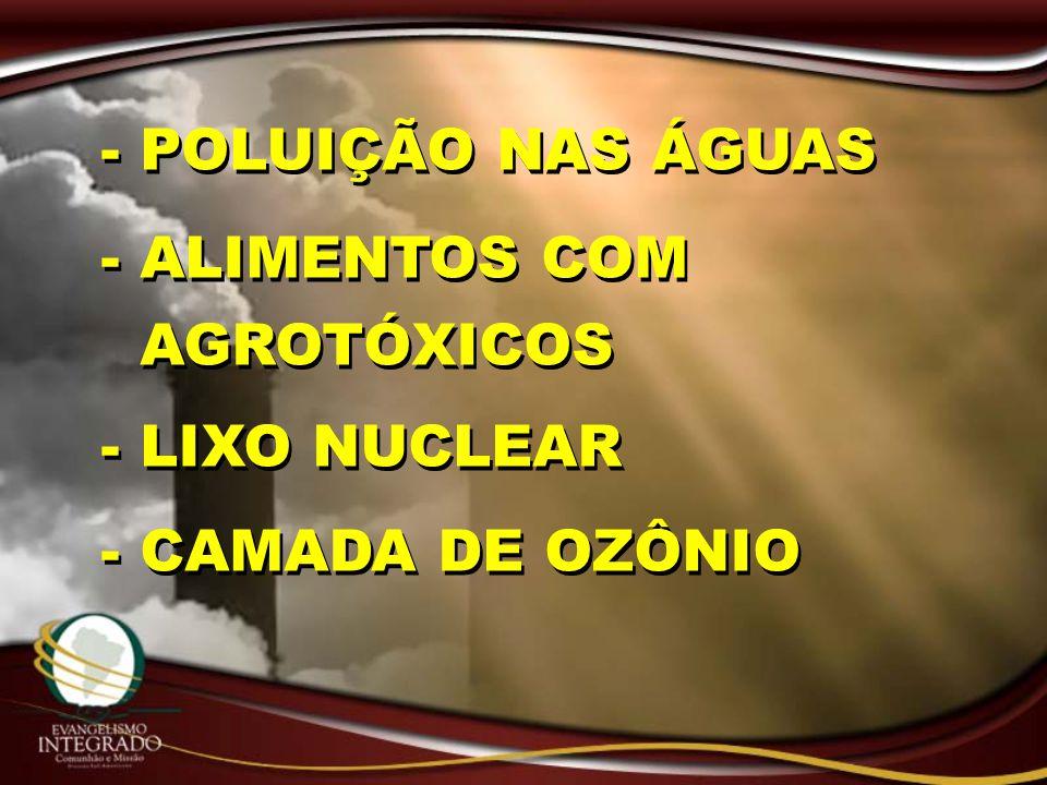 - POLUIÇÃO NAS ÁGUAS - ALIMENTOS COM AGROTÓXICOS - LIXO NUCLEAR - CAMADA DE OZÔNIO