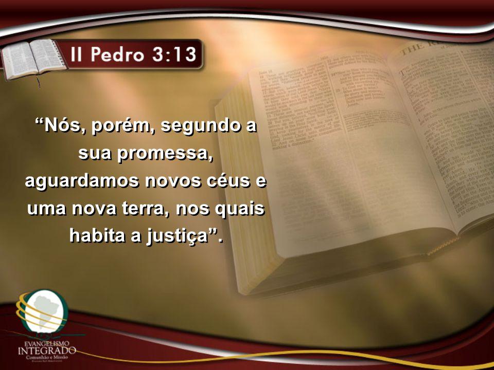 Nós, porém, segundo a sua promessa, aguardamos novos céus e uma nova terra, nos quais habita a justiça .