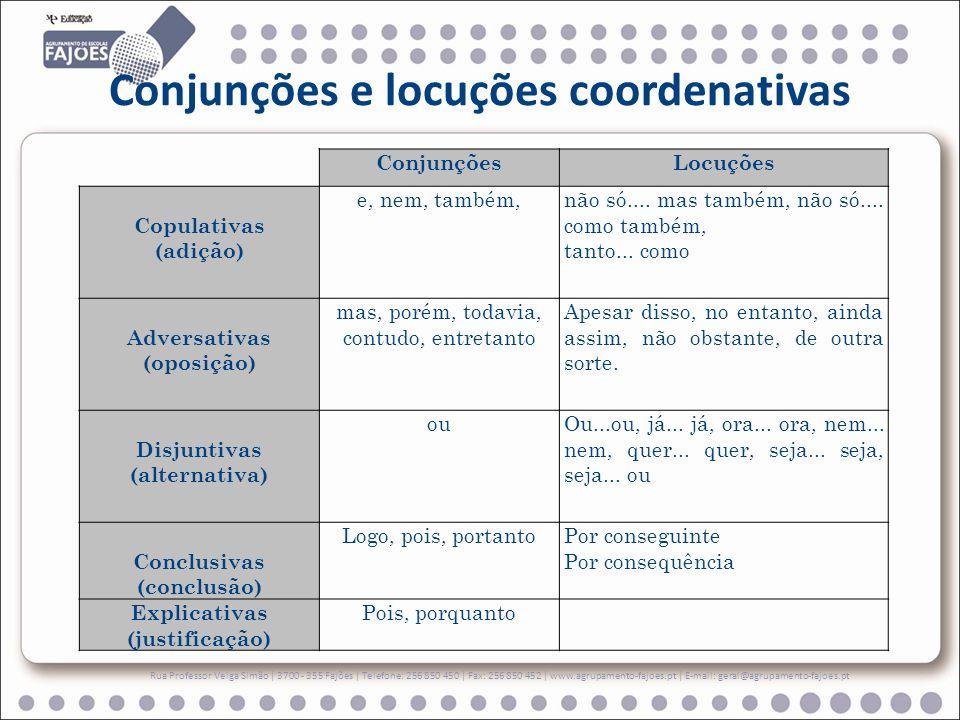 Conjunções e locuções coordenativas