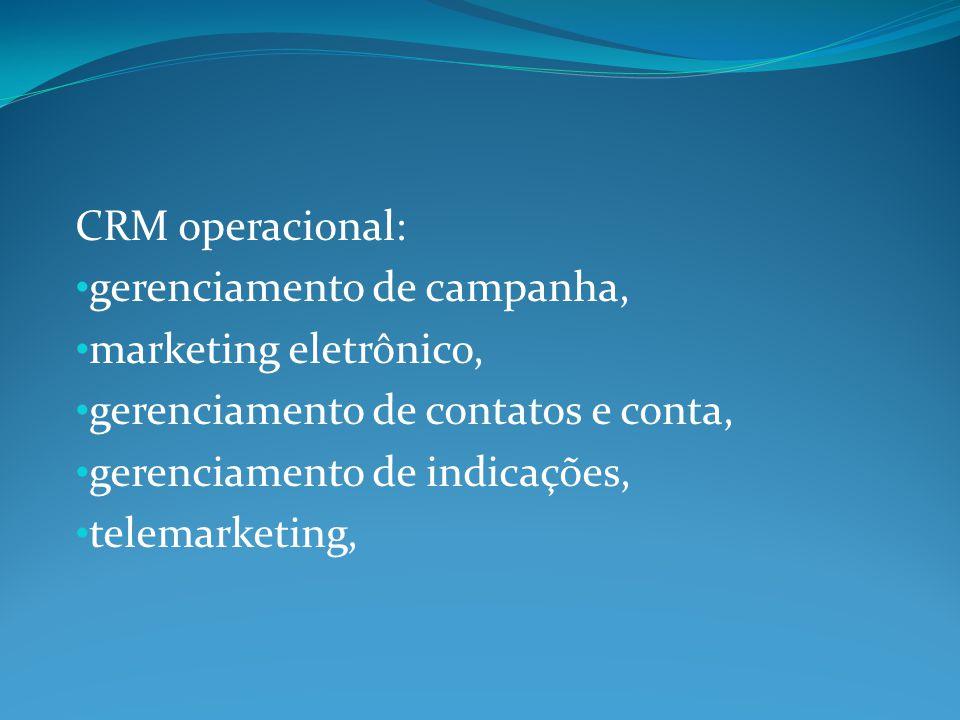 CRM operacional: gerenciamento de campanha, marketing eletrônico, gerenciamento de contatos e conta,