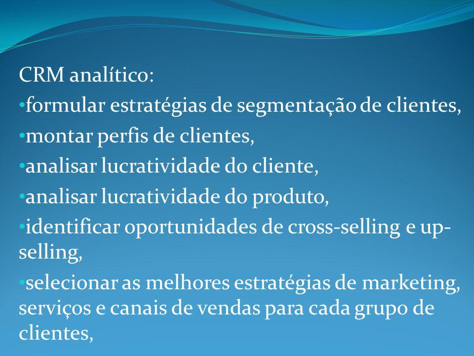 CRM analítico: formular estratégias de segmentação de clientes, montar perfis de clientes, analisar lucratividade do cliente,