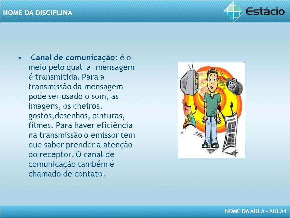 Canal de comunicação: é o meio pelo qual a mensagem é transmitida