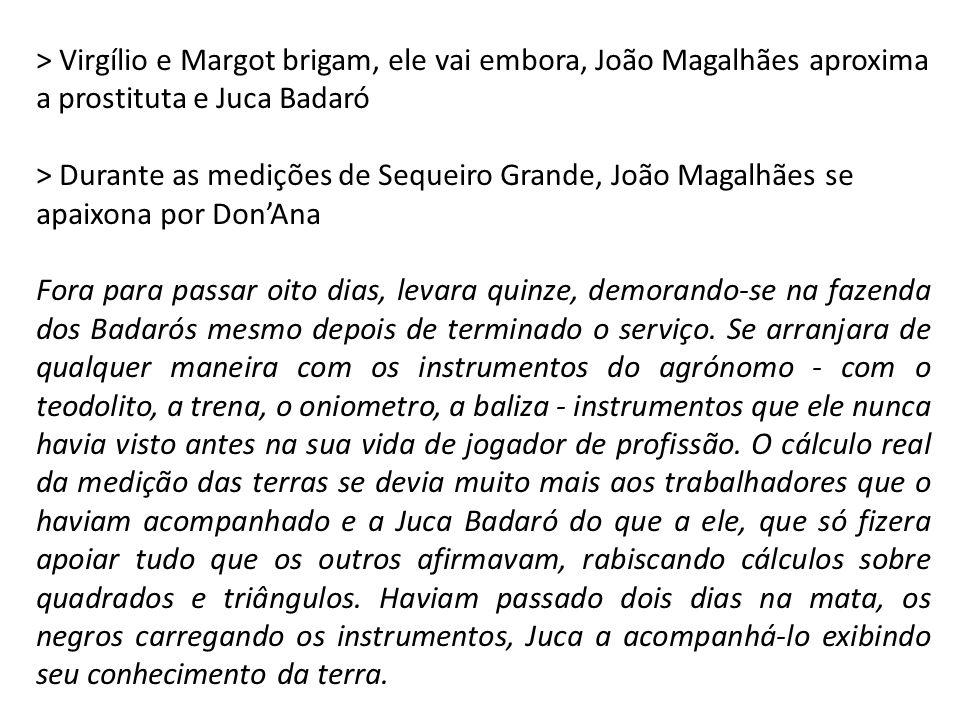 > Virgílio e Margot brigam, ele vai embora, João Magalhães aproxima a prostituta e Juca Badaró