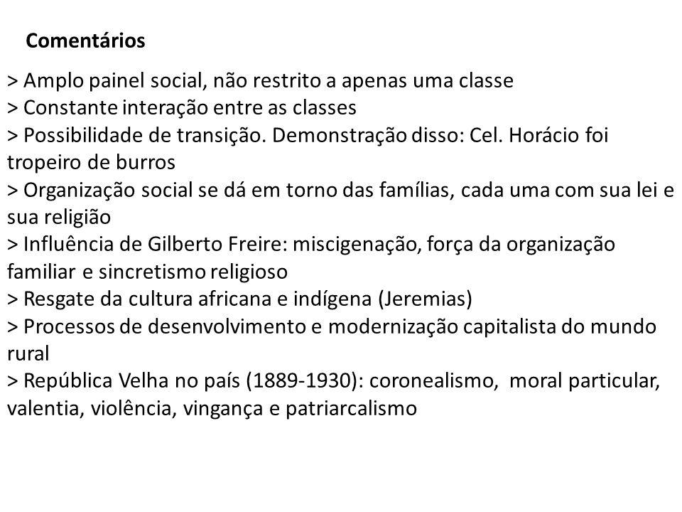Comentários > Amplo painel social, não restrito a apenas uma classe. > Constante interação entre as classes.