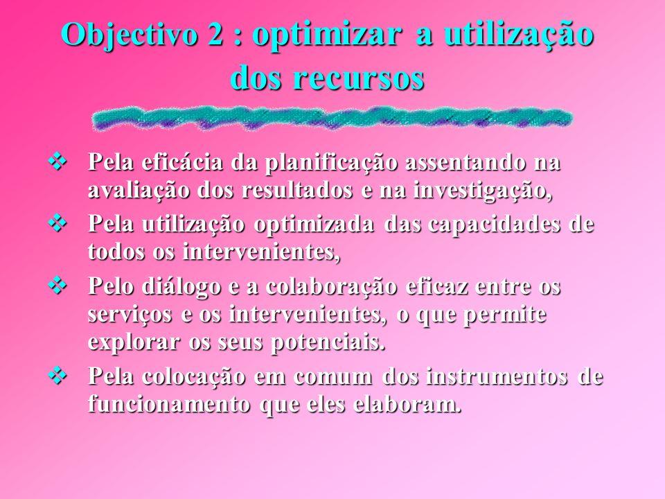 Objectivo 2 : optimizar a utilização dos recursos
