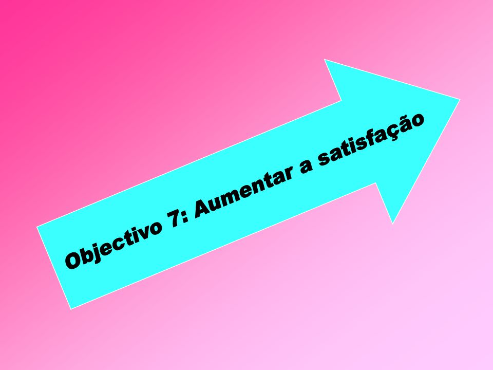 Objectivo 7: Aumentar a satisfação