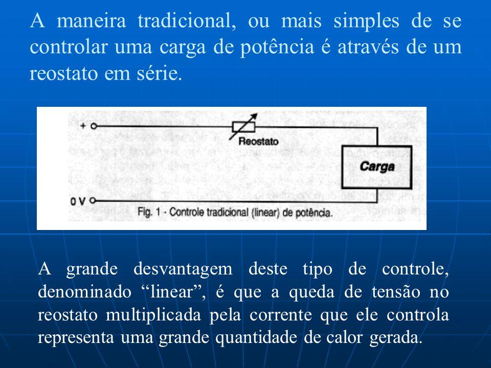 A maneira tradicional, ou mais simples de se controlar uma carga de potência é através de um reostato em série.