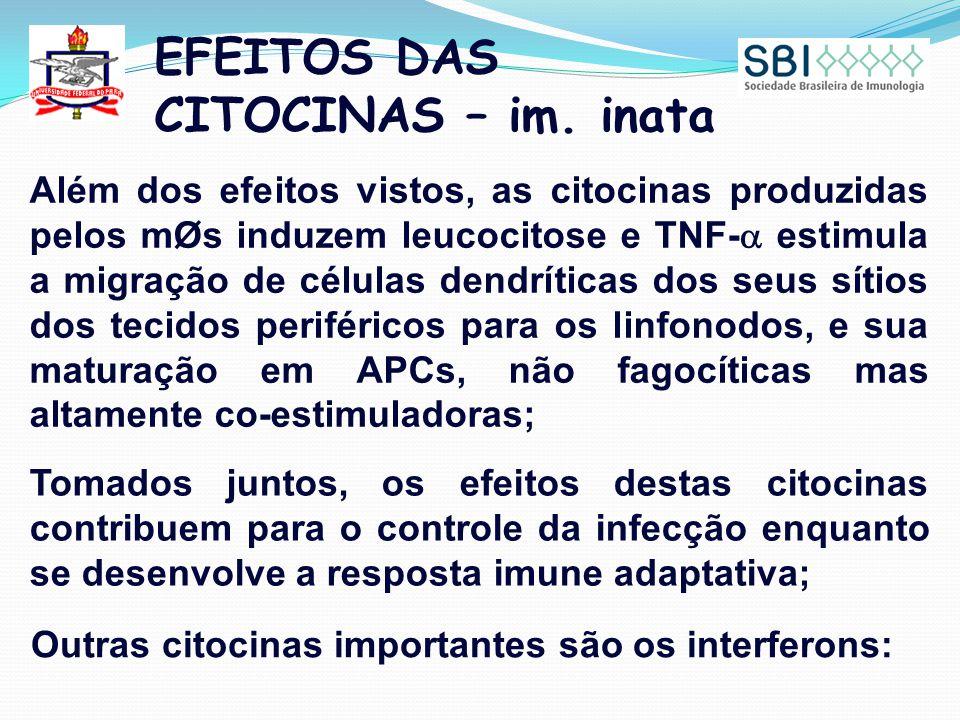 EFEITOS DAS CITOCINAS – im. inata