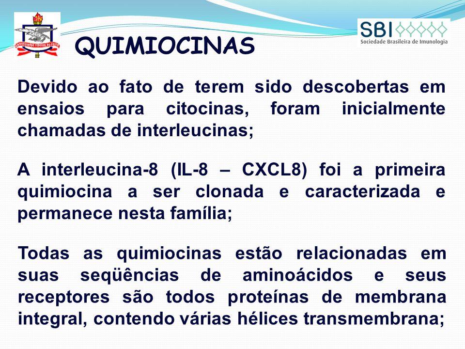 QUIMIOCINAS Devido ao fato de terem sido descobertas em ensaios para citocinas, foram inicialmente chamadas de interleucinas;