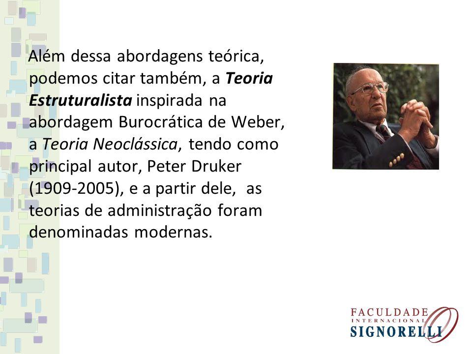 Além dessa abordagens teórica, podemos citar também, a Teoria Estruturalista inspirada na abordagem Burocrática de Weber, a Teoria Neoclássica, tendo como principal autor, Peter Druker (1909-2005), e a partir dele, as teorias de administração foram denominadas modernas.