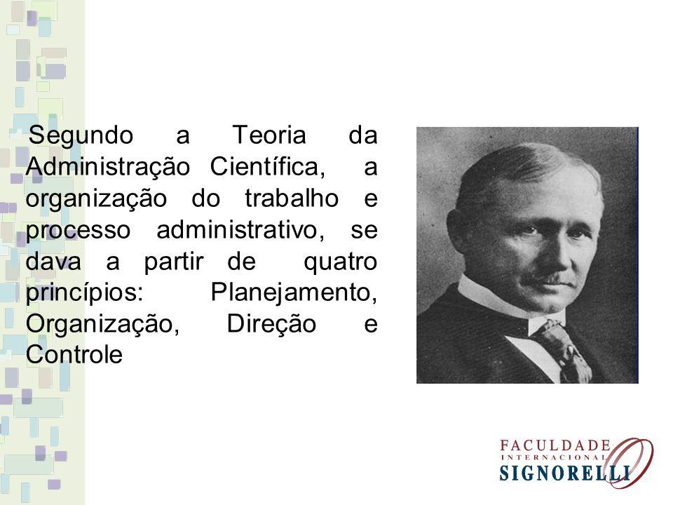 Segundo a Teoria da Administração Científica, a organização do trabalho e processo administrativo, se dava a partir de quatro princípios: Planejamento, Organização, Direção e Controle
