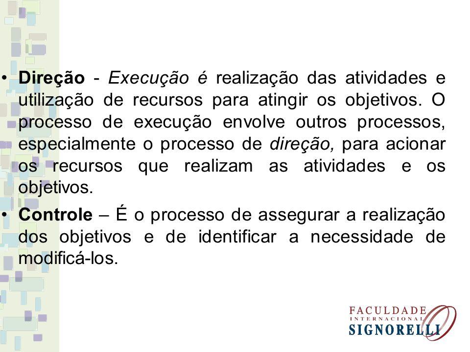 Direção - Execução é realização das atividades e utilização de recursos para atingir os objetivos. O processo de execução envolve outros processos, especialmente o processo de direção, para acionar os recursos que realizam as atividades e os objetivos.