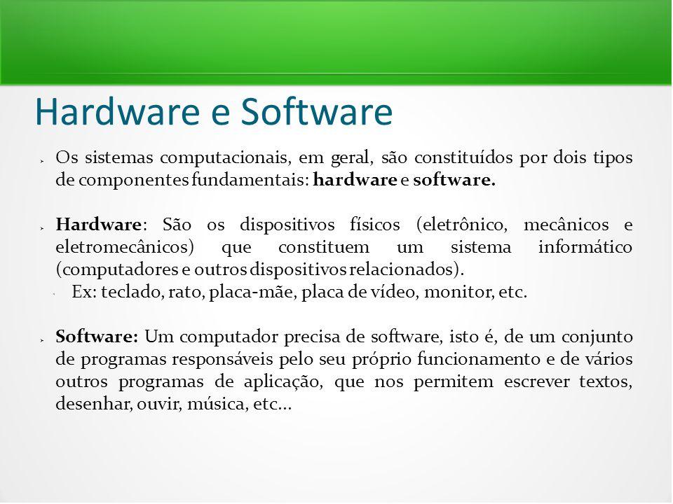 Hardware e Software Os sistemas computacionais, em geral, são constituídos por dois tipos de componentes fundamentais: hardware e software.