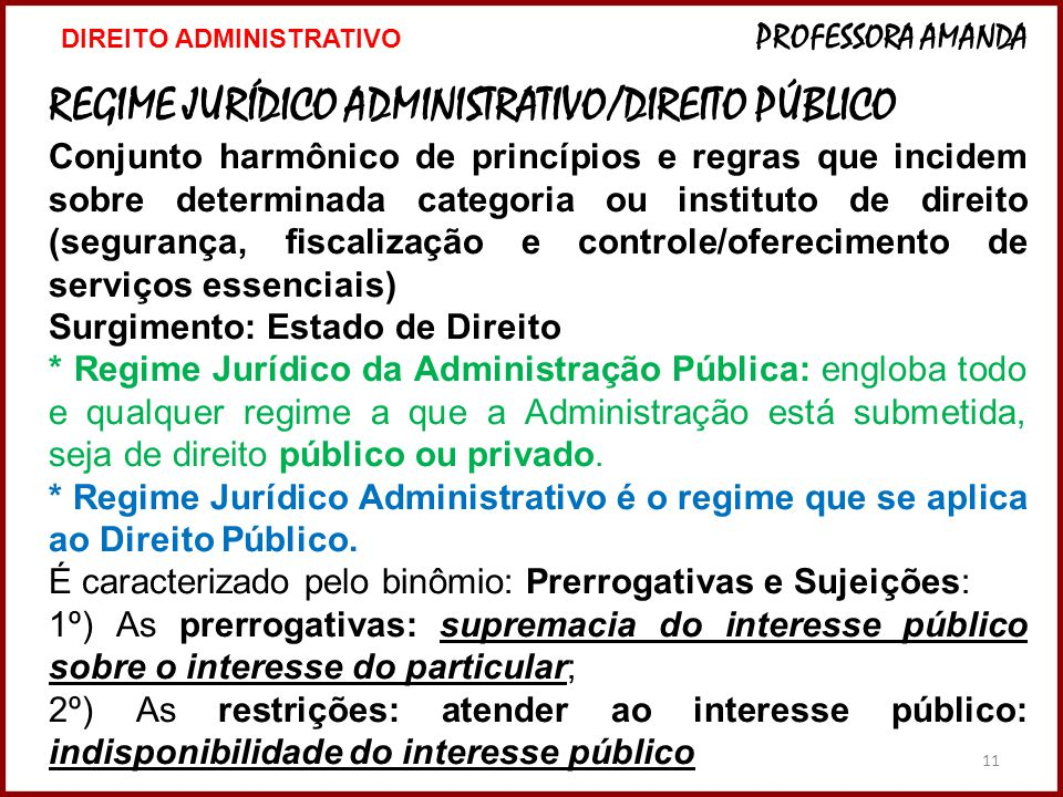REGIME JURÍDICO ADMINISTRATIVO/DIREITO PÚBLICO