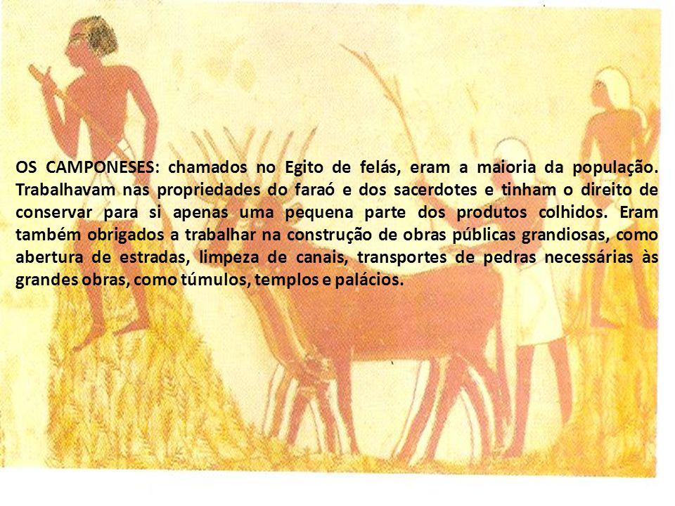 OS CAMPONESES: chamados no Egito de felás, eram a maioria da população