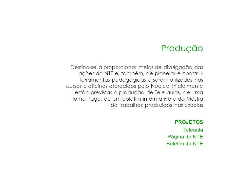 Produção PROJETOS Teleaula Página do NTE Boletim do NTE