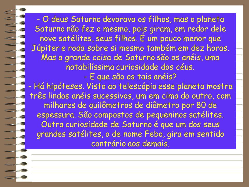 - O deus Saturno devorava os filhos, mas o planeta Saturno não fez o mesmo, pois giram, em redor dele nove satélites, seus filhos. É um pouco menor que Júpiter e roda sobre si mesmo também em dez horas. Mas a grande coisa de Saturno são os anéis, uma notabilíssima curiosidade dos céus.