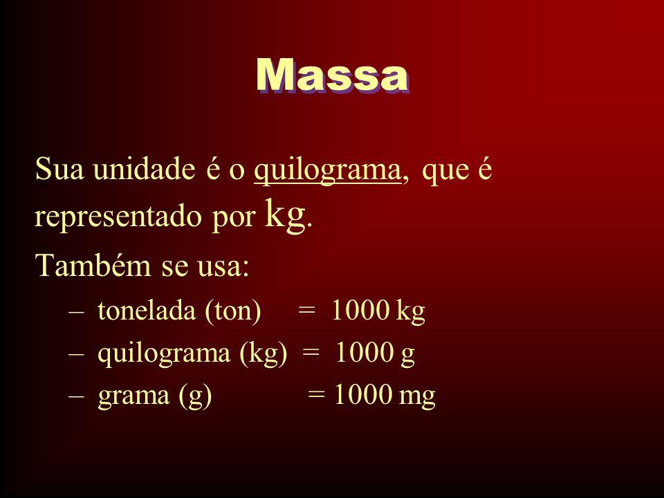 Massa Sua unidade é o quilograma, que é representado por kg.